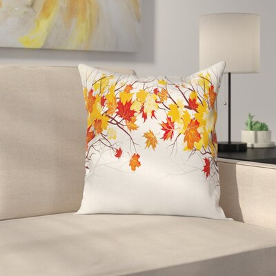 Fall Decor Cartoon Autumn Tree Square Pillow Cover Size: 18 x 18