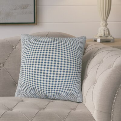 Charles Plaid Cotton Throw Pillow Color: Blue