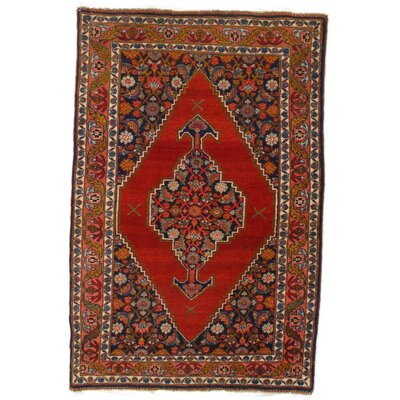Genuine Antique Persian Bidjar Hand-Knotted Wool Rust Area Rug