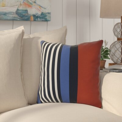 Bartow Beach Shack Throw Pillow Size: 20 H x 20 W x 3 D, Color: Red/Navy Blue