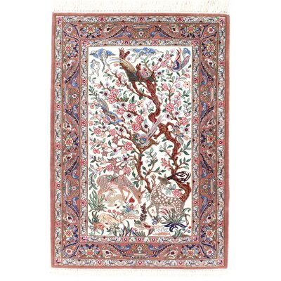 Genuine Persian Isfahan Hand-Knotted Ivory Area Rug