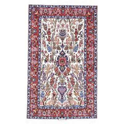 Genuine Persian Isfahan Hand-Knotted Rust Area Rug