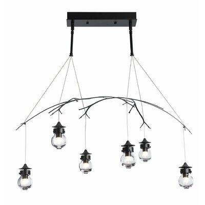 Colesberry 6-Light Kitchen Island Pendant Color: Satin Aqua, Size: 48 H x 36.8 W x 22.3 D