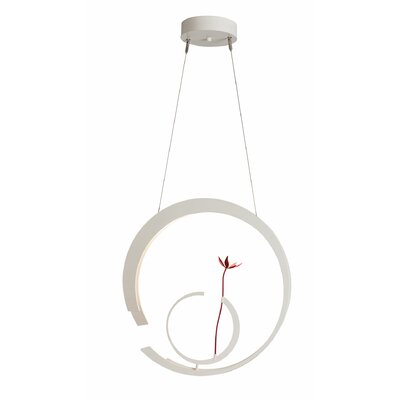 Pendarvis 1-Light LED Geometric Pendant Finish: Satin White, Base Finish: Satin Red