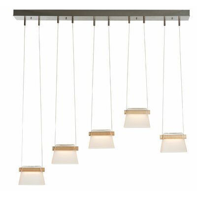 Cothran 5-Light LED Kitchen Island Pendant Finish: Satin White, Shade Color: Frosted