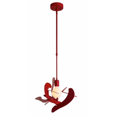 Gustafson 1-Light Geometric Pendant Finish: Satin Red, Size: 51.5 H x 21.3 W x 21.3 D