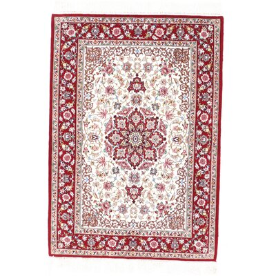 Genuine Persian Isfahan Hand-Knotted Rust/Navy Area Rug