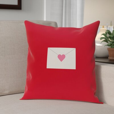 Valentines Day Envelope Throw Pillow Size: 18 H x 18 W, Color: Red