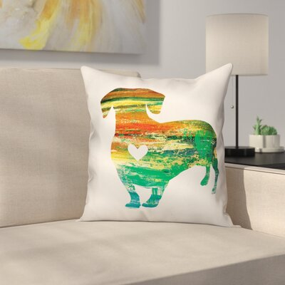 Nunlist Silhouette Dachshund Throw Pillow in , Throw Pillow Color: Green/Orange/Yellow, Size: 18 x 18