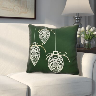 Decorative Holiday Geometric Print Outdoor Throw Pillow Size: 18 H x 18 W, Color: Dark Green