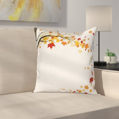 Fall Decor Flying Maple Leaves Square Pillow Cover Size: 24 x 24