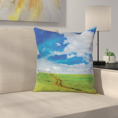 Nature Path in Meadow Rural Square Pillow Cover Size: 16 x 16