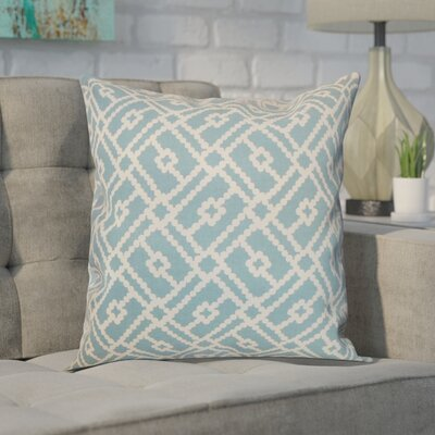 Ellefson Cotton Throw Pillow Color: Turquoise, Size: 18x18