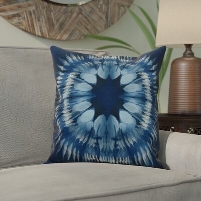 Dabria Shibori Burst Outdoor Throw Pillow Size: 18 H x 18 W, Color: Navy Blue