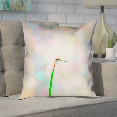Gemmill Dragonfly and Lights Outdoor Throw Pillow Size: 16 x 16