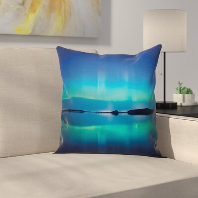 Sky Scenery Calm Lake Cushion Pillow Cover Size: 16 x 16