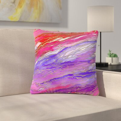 Ebi Emporium Agate Magic Abstract Geological Painting Outdoor Throw Pillow Color: Red/Lavender, Size: 18 H x 18 W x 5 D