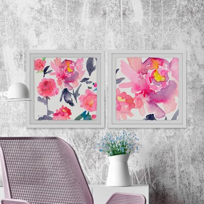 "'Pink a Flutter Diptych' 2 Piece Framed Watercolor Painting Print Set Size: 12"" H x 24"" W x 1.5"" D 5E3C817E5262417FABA3A1215488D1C3"