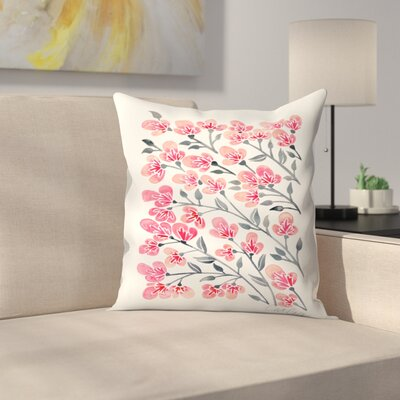 Cherry Blossoms Throw Pillow Size: 16 x 16