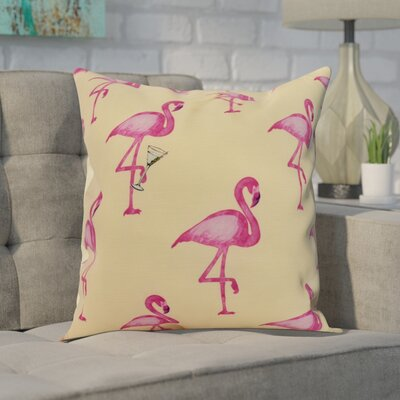 Crosswhite Flamingo Fanfare Martini Animal Print Indoor/Outdoor Throw Pillow Color: Yellow, Size: 16 x 16