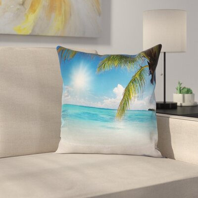 Beach Tropical Seashore Palms Cushion Pillow Cover Size: 20 x 20