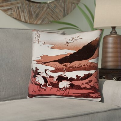 Montreal Japanese Cranes Square 100% Cotton Throw Pillow Size: 14 x 14
