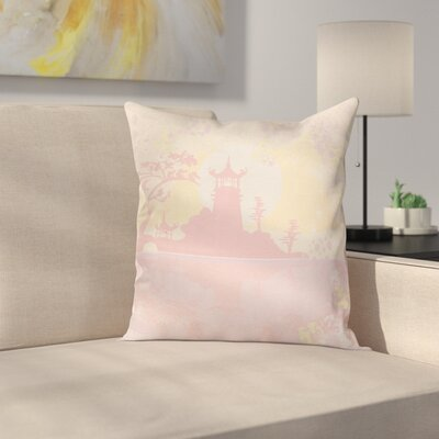 Ancient China Landscape Cushion Pillow Cover Size: 18 x 18