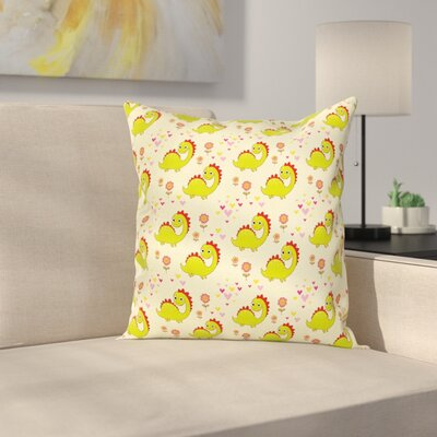 Dinosaur Cute Dinosaur Square Cushion Pillow Cover Size: 24 x 24
