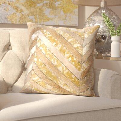 Glaucous Thin Met Chevron Throw Pillow Color: Beige/Gold
