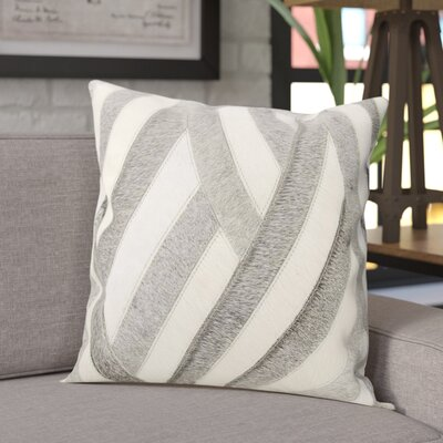 Anderson Natural Leather Hide Throw Pillow Color: White/Gray