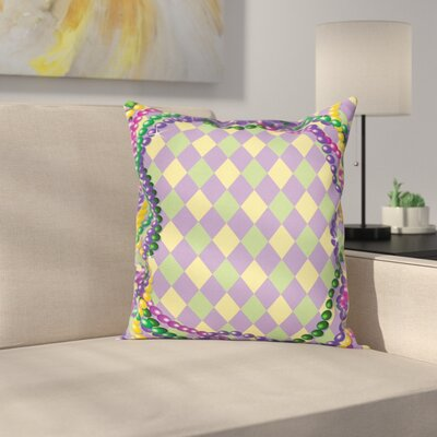 Mardi Gras Vivid Graphic Style Square Cushion Pillow Cover Size: 18 x 18
