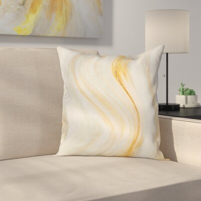 Cream Wavy Marble Effect Square Pillow Cover Size: 18 x 18