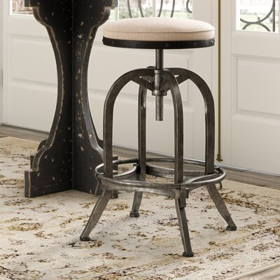 Emily Adjustable Height Swivel Bar Stool Upholstery: Off-White