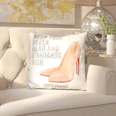Jackson Heights Quote Keep Your Standards High with Nude Shoes Throw Pillow