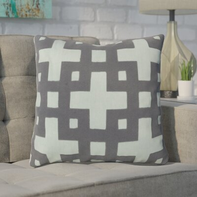 Bright Squares Cotton Throw Pillow Size: 18 H x 18 W x 4 D, Color: Slate Blue / Pale Aqua Green, Filler: Down