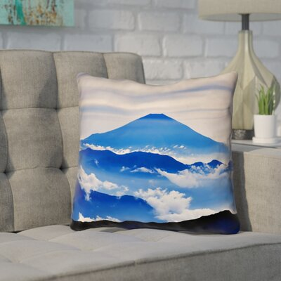 Enciso Fuji Square Outdoor Throw pillow Size: 18 H x 18 W, Color: Blue
