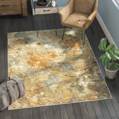Knox Marble Gold/Beige Area Rug Rug Size: Rectangle 53 x 73