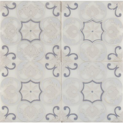 Tetris Florita Blanco 6 x 6 Marble Field Tile in Beige/Black
