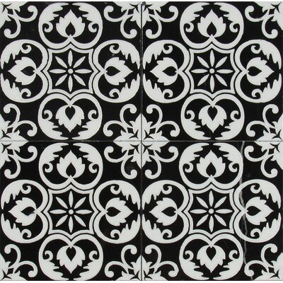 Tetris Florita Nero 6 x 6 Marble Field Tile in Black/White
