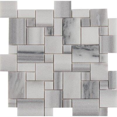 Bergamo Magic Random Sized Marble Mosaic Tile in Gray