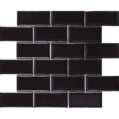 Midnight Beveled 2 x 4 Ceramic Subway Tile in Black