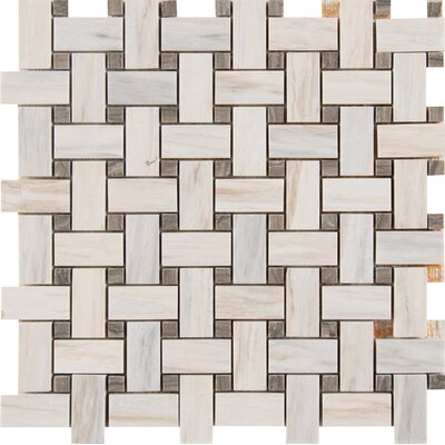 Angora Basketweave Marble Mosaic Tile in Beige/Brown