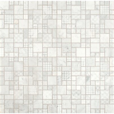 Tetris Blanco Random Sized Marble Mosaic Tile in Gray