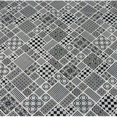 Tetris Nero Random Sized Marble Mosaic Tile in Black/Gray