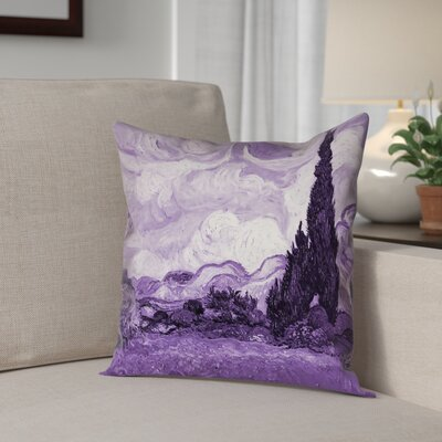 Lapine Wheatfield with Cypresses Outdoor Throw Pillow Color: Purple, Size: 16 x 16