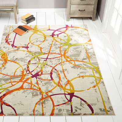 Kolb Morden Circles Orange Area Rug Rug Size: Rectangle 27 x 66