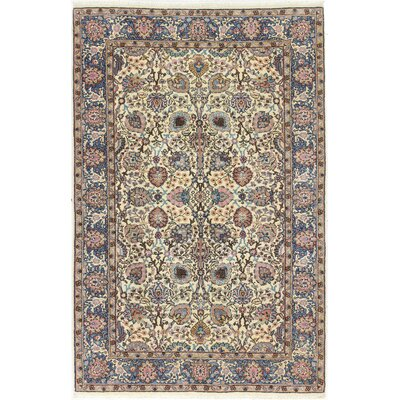 One-of-a-Kind Ritch Hamadan Hand-Woven Wool Ivory/Blue Area Rug