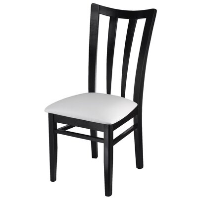 Northville Slat Upholstered Dining Chair Frame Color: Black, Upholstery Color: White