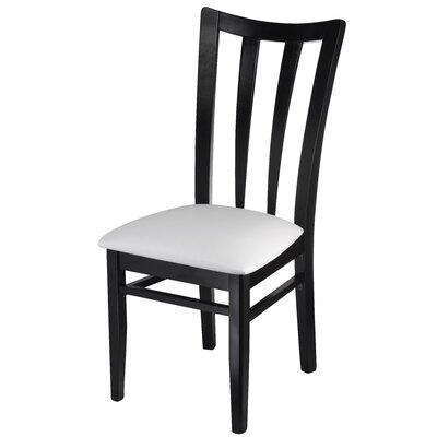 Northville Slat Upholstered Dining Chair Frame Color: Black, Upholstery Color: White
