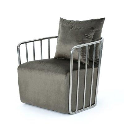 La Mott Modern Velvet Armchair Upholstery: Gray/Chrome